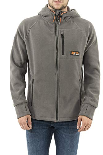 Superdry Herren Polar Fleece Zip Hoodie Gr. XX-Large, Exposure Grau