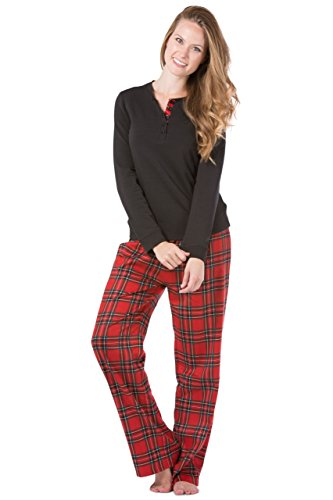 Fishers Finery Women's Pajama Set; Fleece Henley Top; Flannel Pant(Red/Black, S)