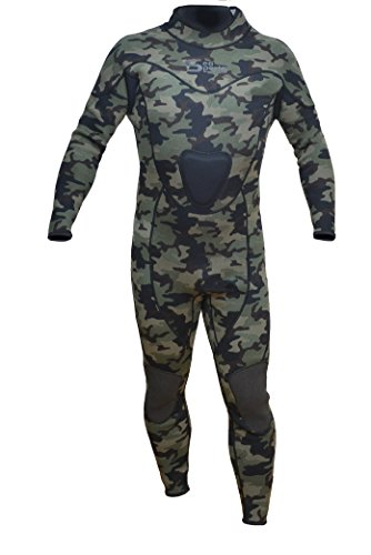 Sea Sports Camouflage Wetsuit Spearfishing Green Camo 3mm Back Zip Jumpsuit Fullsuit (XL)