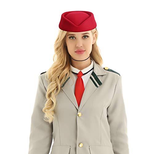 Agoky Stewardess Hut Flugzeug Flugbegleiterin Mütze Wollfilz Haube Cap für Cosplay Kostüm Zubehör Weinrot One Size