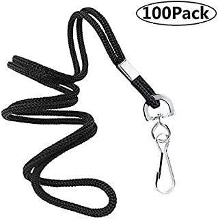 "COTODO ID Black Lanyards Safety Badge Lanyard 36"" with Swivel Hook 100 Pack"