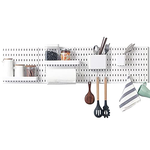 HomDSim No Punching Pegboard Wall Mount Organizer Kits with 15 Shelf and Hooks,Pegboard Panel Display Accessories,Pegboard Pack Storage Combination Kit ,No Punching for Kitchen Bathroom(22'x22', 4)