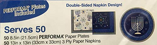 Celebrate Party Pack Serves 50 | Performa Plates, Double Sided Napkin Design | Hanukkah Geo