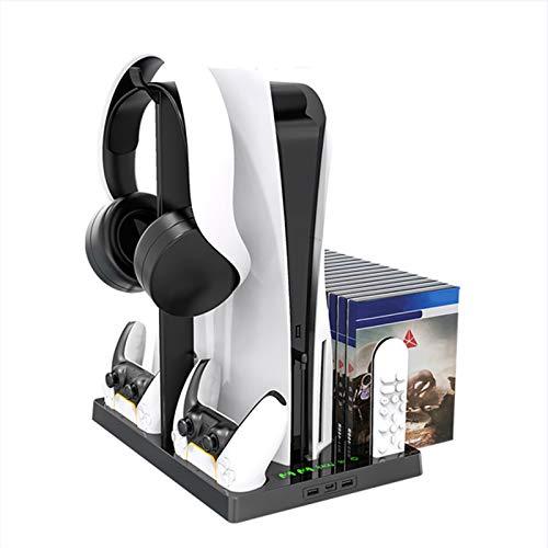 ALLWIN para PS5, Estación De Carga De La Consola Dual, Soporte Vertical con Ventilador De Refrigeración, 15 Ranuras De Disco De Juego Soporte Auricular