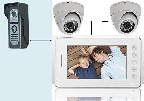 Videocitofono 7' colori FOTO Campanello +2 DomeTelecamera ultra sottile (412)