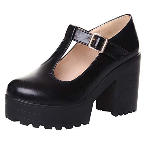 Etebella Damen Plateau Gothic Pumps mit Blockabsatz T Strap High Heels Mode Punk Schuhe(Schwarz,35)