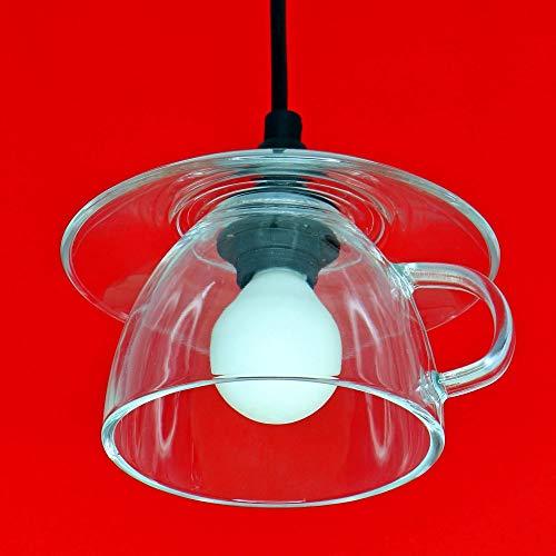 Große Tassenlampe, Lampe aus Jumbo-Tasse, Boholampe, Landhauslampe, Geschirrlampe, Küchenlampe aus Geschirr