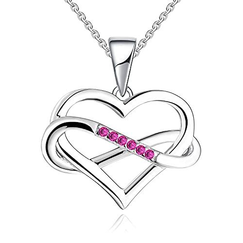 JO WISDOM Collares Colgante Plata de ley 925 Corazón Infinito Cristales Swarovski 3A Circonita Piedra de nacimiento de Julio color Rubí Mujer Joyería