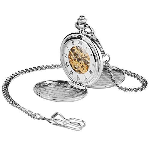 QFERWRelojes Silver Smooth Case Vintage número Romano Reloj de Bolsillo mecánico de Viento Manual Double Open Hunter Case Fob Relojes Hombres Mujeres Regalo, Plata