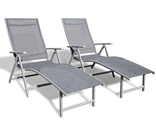 Kozyard Cozy Aluminum Beach Yard Pool Folding Reclining Adjustable Chaise Lounge Chair (2 Pack, Gray)