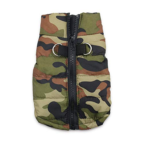 DroolingDog Dog Winter Jacket Camo Waterproof Coat Dog Camouflage Costume for Small Dogs, Small, Army Green