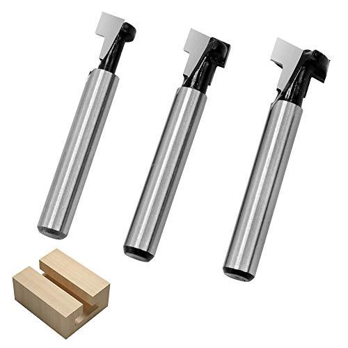 3-teiliges T-Nutfräser T-Nut Hartmetallbestückt Holzfräser Sägewerkzeug 6,35 mm (1/4 Zoll) Schaft