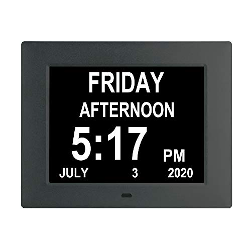 LaMi Products [Newest Version] Digital Calendar Day Alarm Clock with 8 Alarm Reminders,AM/PM Function,Extra Large Impaired Vision Clock with Non-Abbreviated Day & Month Elderly Clock (7 inch,Black)