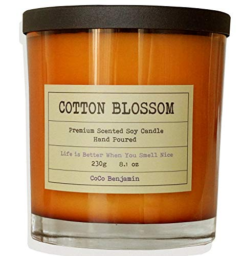 Soy Candle, Highly Scented, Hand Poured, 8.1 oz (Cotton Blossom)