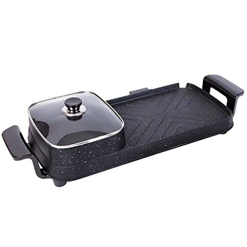 SJZD Multifunktions-Elektrogrill Hot Pot Dual-Purpose Integrierter Topf Haushalt 220V 1500W Sichere Antihaft-Backform Kochfeld Grillpfanne Bratpfanne für 3-5 Personen