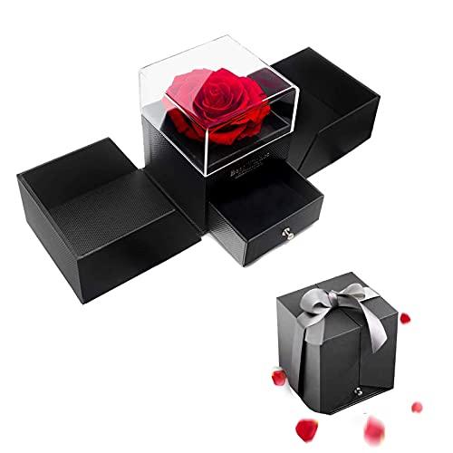 MINCHEDA Rosa Preservada con Amor, Rosa Eterna con Collar Hecha a Mano, Caja de Regalo para Día de la Madre, Día de San Valentín, Aniversario, Cumpleaños