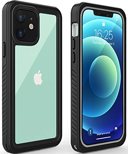 Diverbox for iPhone 12 Waterproof Case,Waterproof Shockproof Dustproof IP68 Full-Body Hard Case Built-in Screen Protector Underwater Outdoor Waterproof Cover for iPhone 12,6.1 in (Clear Black)