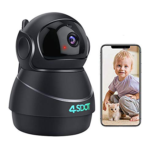 Nanny Cam Indoor, 4SDOT 1080P WiFi IP Camera, 3D Panorama View PTZ Camera, 2 Way Audio, Night Vision, Motion Detection, Cloud Storage Baby Monitor Security Camera for Pet/Elderly with SD Card Slot