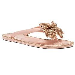 Nude/Rgld Bowtie Flip Flops Flat Slippers