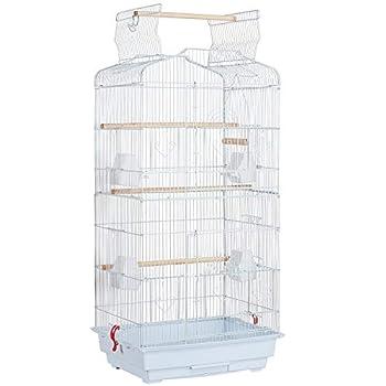 Yaheetech Cage à Oiseaux Perruche Cage avec Toit Ouvrable pour Calopsitte élégante Inséparable Perruche Ondulée Canaris 46 x 36 x 92 cm Blanc