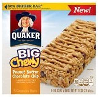 Quaker Big Chewy Peanut Butter Chocolate Chip Granola Bars, 5-Count 1.48 oz. bars (Pack of 2)
