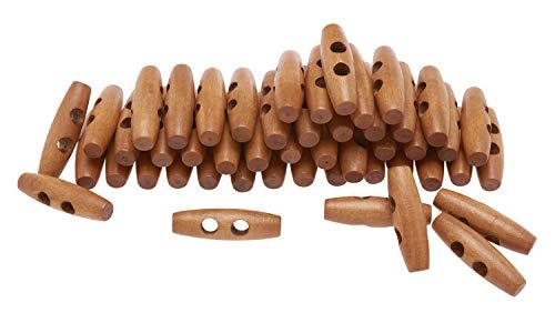 50 Holz-Knebelknöpfe, VBS Großhandelspackung