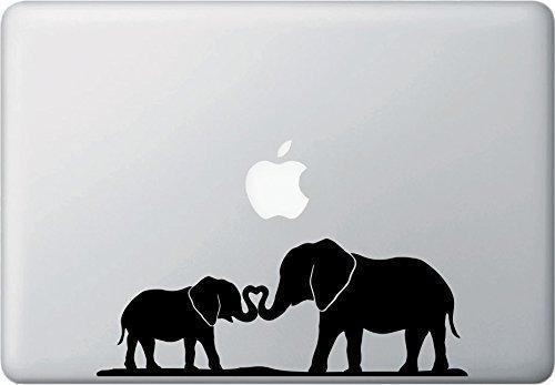 HavenSticks Elephant Baby and Mom Cute Decal for Laptop, Helmet, Tumbler, Mac Book, iPad, Bike, etc - Multiple Designs (Black) (Design 1 (8' Wide))