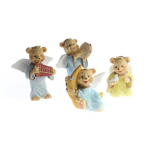 Group of 12 Assorted Resin Painted Angel Bear Figurines for Gifting, Favors, and Collecting