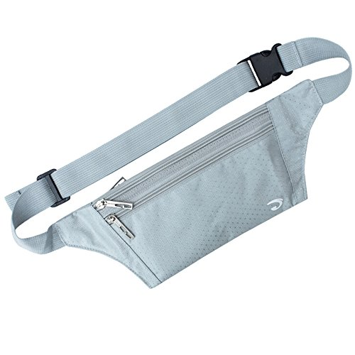 Marsupio borsa ultrasottile Hide borsa sport outdoor jogging viaggio runner cintura con carta di credito Protector carta, Silver Gray