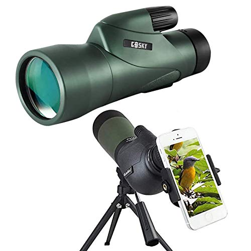 Gosky 20-60x80 Porro Prism Spotting Scope + 12x55 HD Monocular