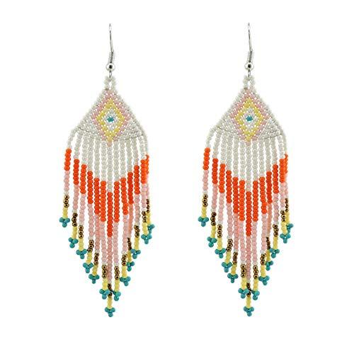 Coiris Statement Colorful Beaded Earrings Dangle Tassel Pendant Earrings for Women (ER1148)