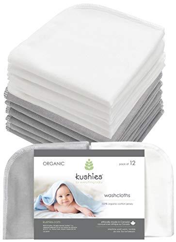 Kushies Baby Washcloths 12 Pack, Infant Washcloths, Ultra Soft Cloth Wipes,Organic Baby Washcloths (White & Grey)