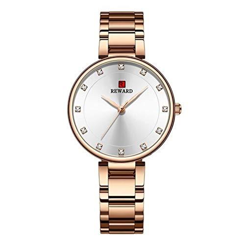 JISHIYU-Q Relojes de Las Mujeres de la Marca de la Mejor Marca de Lujo de la Correa de Acero Inoxidable de Lujo Reloj de Pulsera Rosa Reloj de Oro Reloj Hembra Cuarzo Reloj Mira Esposa Girl Regalo