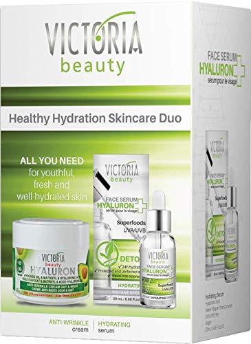 Victoria Beauty - Geschenkset für Frauen, Gesichtspflege Set, Geschenkbox für Damen mit Superfoods Serum und Hyaluron Creme, Anti Falten Pflegeset