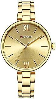 Curren 9017 Quartz Movement Round Dial Stainless Steel Strap Waterproof Women Wristwatch - Gold