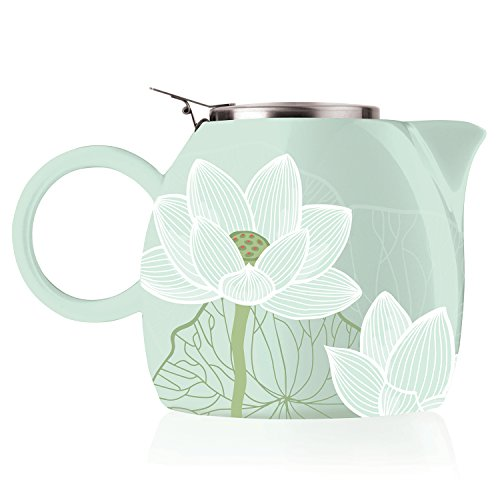 Tea Forte Pugg 24oz Ceramic Teapot with Tea Infuser Loose Leaf Steeping For Two Lotus