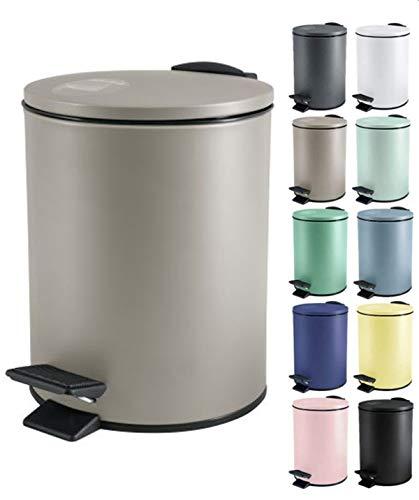 Spirella Kosmetikeimer 5 Liter Edelstahl mit Absenkautomatik und Inneneimer Adelar Badezimmer Mülleimer Softclose Abfalleimer Taupe