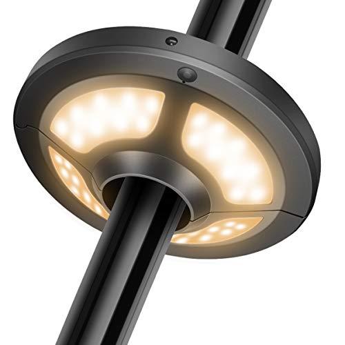 Jirvyuk Sonnenschirmlampe mit 36 LED-Leuchten, mit Solarpanel und Fernbedienung, 2 verschiedene Beleuchtungsmodi für Terrasse, mit 3 Batterien Typ AA (warmes Licht)