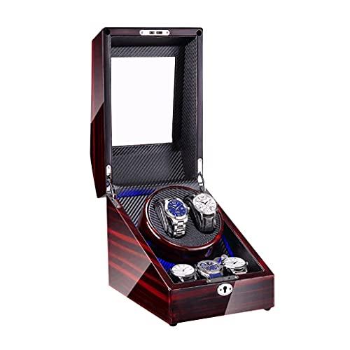 WRNM Cajas Giratorias para Relojes Pintura Piano Lujo 3 + 2 Almohadas Reloj Cuero Bobinado Automático LED Azul Relojes Dama Y Hombre En Forma