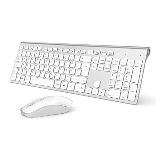 J JOYACCESS Tastatur und Maus,Funktastatur und Maus Set mit 500mAh Wiederaufladbarem Akku,Ultradünne Schnurlose Tastatur Kabellose,Stabiler 2,4GHz,Egonomische Leise Maus für PC/Laptop-Silber und Weiß