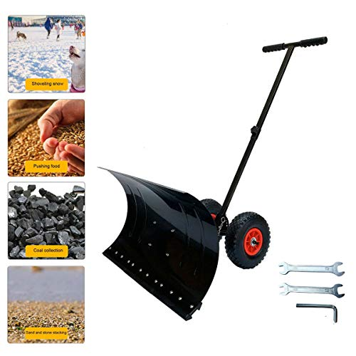 Cheap HOTSTORE Snow Shovel for Driveway, Snow Shovel w/Non-Slip Rubber Wheels, 5 Level Adjustable Ro...