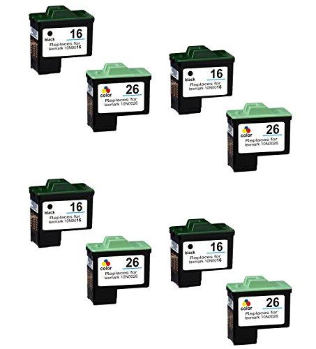 Prestige Cartridge 8 XL Compatibles 16 26 Cartuchos de Tinta para Lexmark I3 X1100 X1150 X1170 X1180 X1190 X1195 X1200 X1270 X2250 X72 X74 X75 Z25 Z35 Z515 Z605 Z615 Z640 | Alta Capacidad