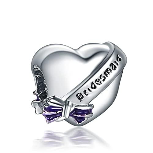 Pandora 925 Charm Pcs Corazón Letras Dama De Honor Colgante Diy Beads Adecuado Para Pulsera Original Señoras Fabricación De Joyas Regalos
