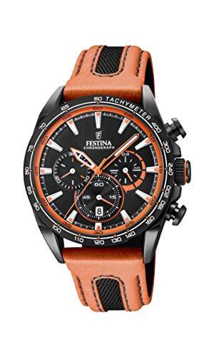 Festina Unisex Erwachsene Chronograph Quarz Smart Watch Armbanduhr mit Leder Armband F20351/5