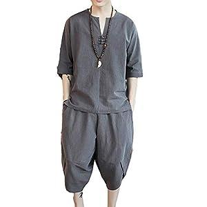 「楽々服」 Dreambuilder(ドリームビルダー)メンズ Tシャツ 半袖 綿麻トップス ハーフ ショート パンツ 上下 セット アップ 無地 部屋着 大きいサイズ (XL(約65-72.5kg), グレー) XL