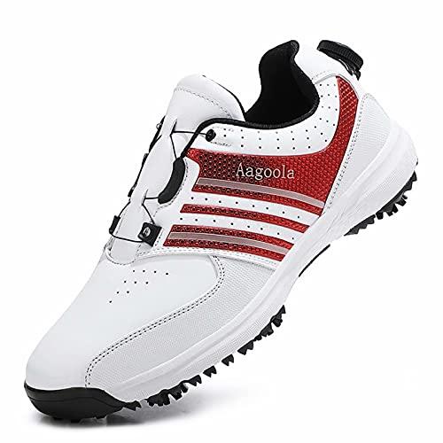 Cacagie Botas de golf impermeables para hombre con sistema de encaje, rojo, 42 EU