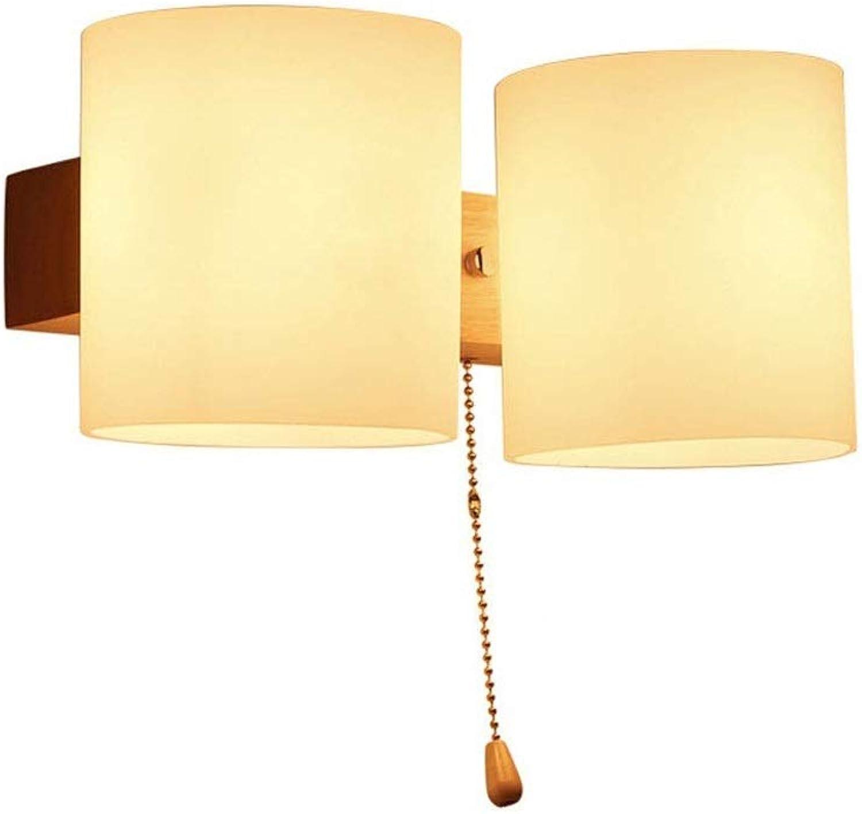 Wandleuchte Wandlampe Moderne minimalistische Schlafzimmer Nachtwandleuchte, kreative Glas Massivholz Wandleuchte, Wohnzimmer Gang Balkon Lampe (Farbe   A)