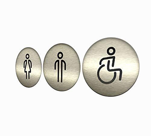 DOJA Barcelona | Cartel para Baño | Hombre + Mujer + Discapacitado | Color Plateado | 100mm Diámetro | Simbolo Adhesivo WC para Puerta | Placa Pegatina para Aseo, Aseos Cartel, Señal de Lavabo