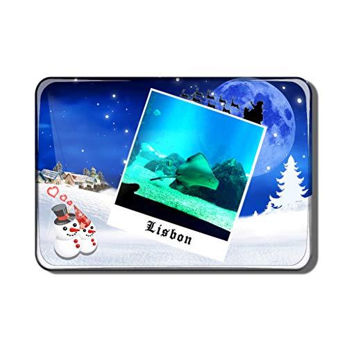 Hqiyaols Souvenir Portugal Aquarium Lissabon Kühlschrankmagnet Kristall Weihnachten Andenken Kühlschrank Magnet Reisen Geschenk Sammlerstücke