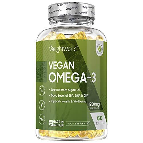 Vegan Omega 3 Algae Oil Capsules - 1250mg Servings (60 Capsules) Vegan Omega 3 EPA DHA Supplement for Brain and Body Health, Essential Algae Omega 3, Natural High Strength Algae Oil, Gluten Free